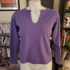 GAP Split Collar Purple Basic Long Sleeve